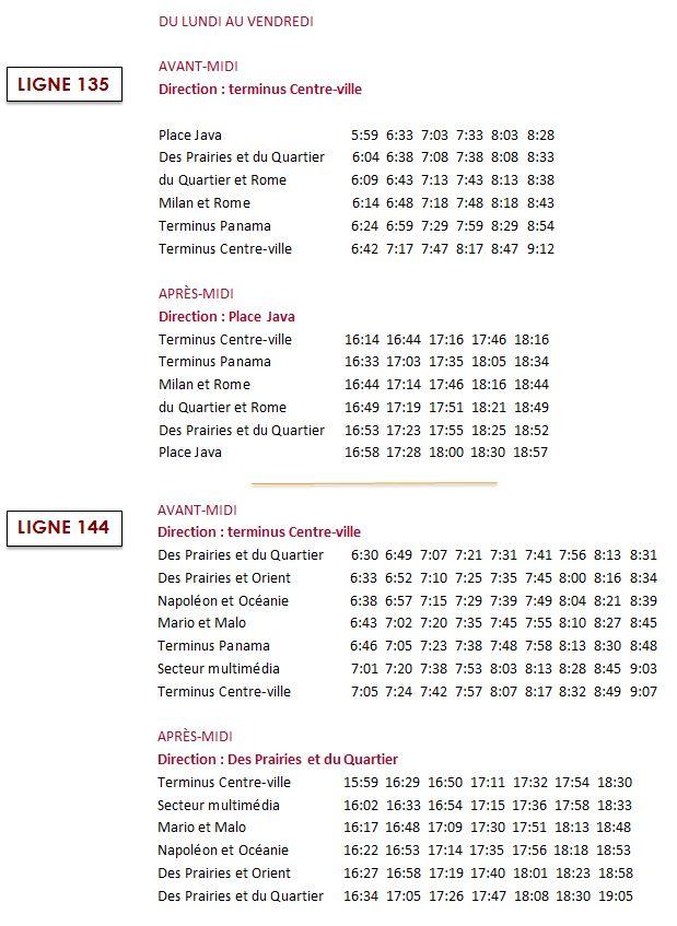 Modifications à l horaire des lignes 135 et 144 du RTL - RTL b47deebc31f