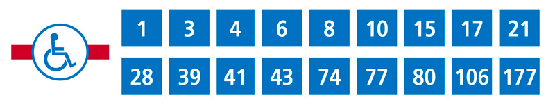 Universally accessible lines: 1,3,4,6,8,10,15,17,21,28,39,41,43,74,77,80,106,177