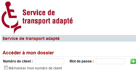 Photo de l'interface du service automatisé de transport adapté.