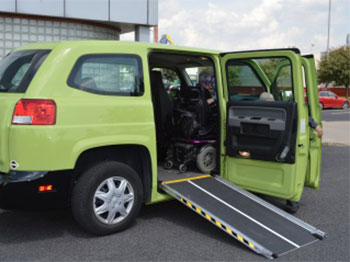 photo of a paratransit hybrid van